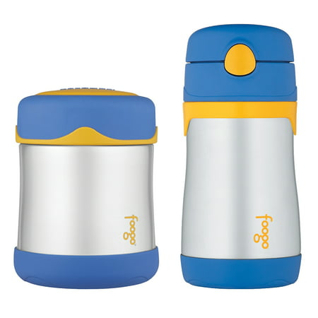 5caae8d1a570 Thermos Foogo Vacuum Insulated Stainless Steel 10-Ounce Food Jar,  Blue/Yellow & Thermos FOOGO Vacuum Insulated Stainless Steel 10-Ounce Straw  Bottle, ...