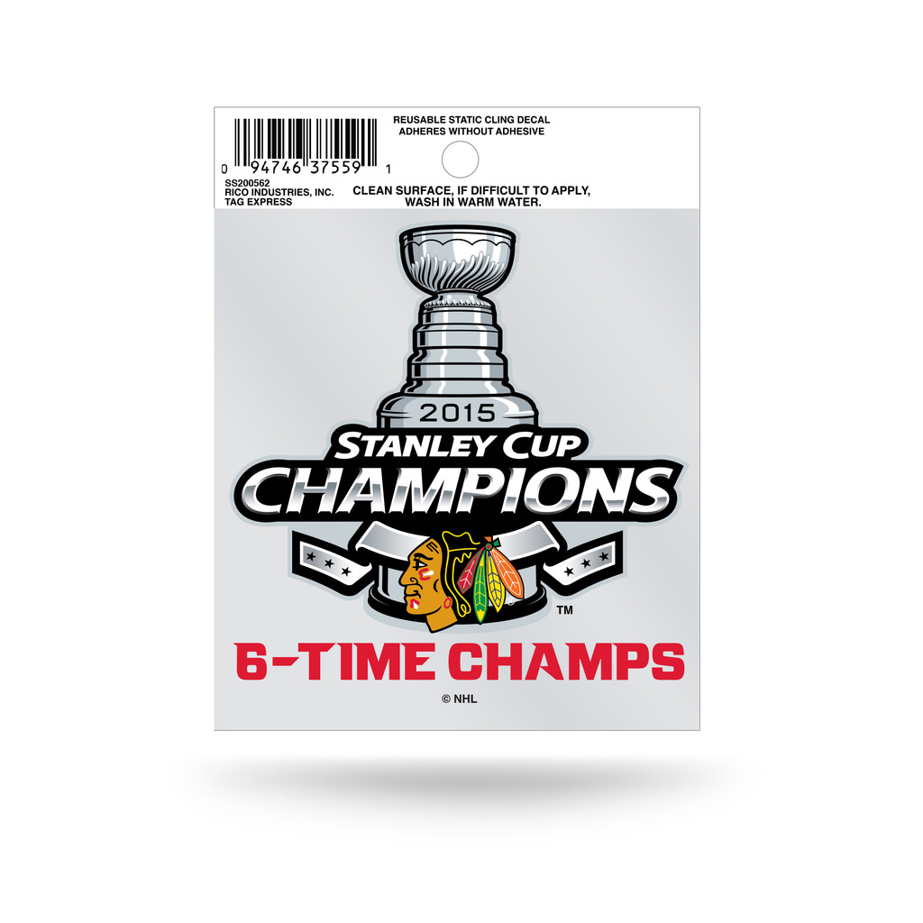 Chicago Blackhawks Official NHL 3.5 inch  Small Static Cling Window Car Decal by Rico
