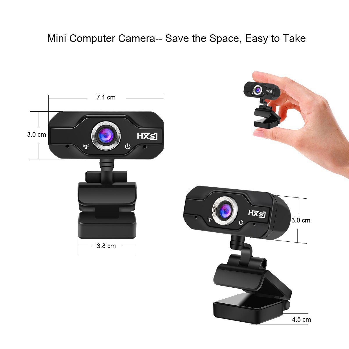 EIVOTOR 720P HD Laptop Webcam USB Mini Computer Camera with Built-in Microphone for Laptops and Desktop 360-Degree Swive