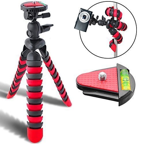 "Acuvar 12"" Inch Flexible Tripod w/ Wrappable Disc Legs Red & Black, Quick Release Plate and Bubble Leveler"