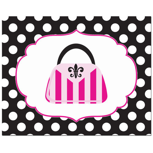 Secretly Designed Fashion Striped Handbag with Polka Dot Border Art Print
