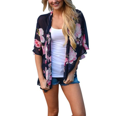 Flare Kimono - ZEDWELL See Through Summer Shirts Top Female Vintage Floral Printed Kimono Cardigan Half Flare Sleeve Beach Shawl Chiffon Women Blouses