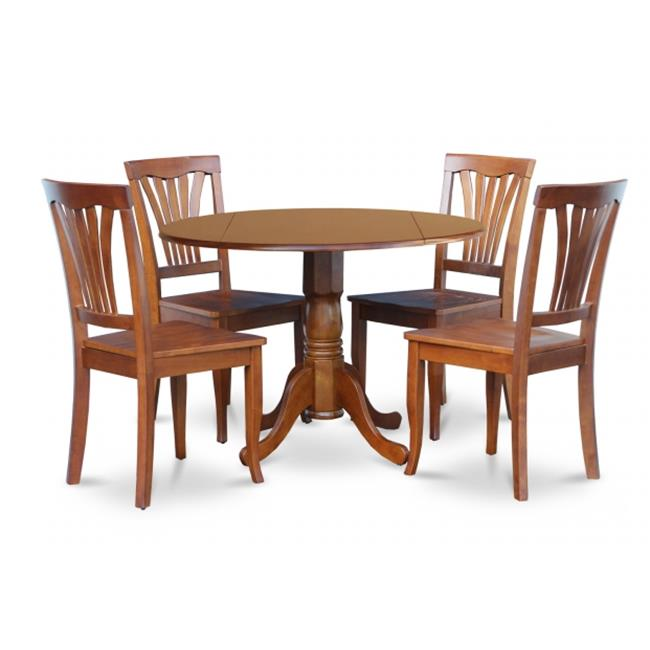 East West Furniture DLAV5-SBR-W 5PC Kitchen Round Table with 2-Drop Leaves and 4 Avon chairs with wood Seat