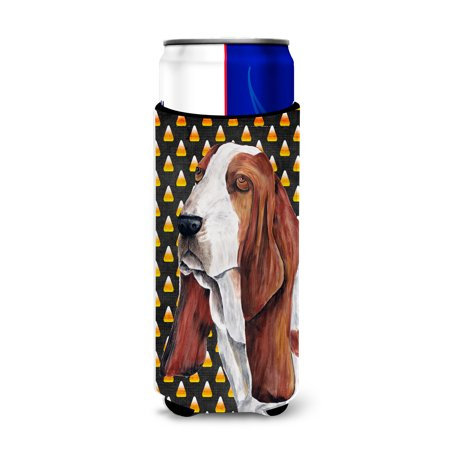 Basset Hound Candy Corn Halloween Portrait Ultra Beverage Insulators for slim cans - Halloween Portraits