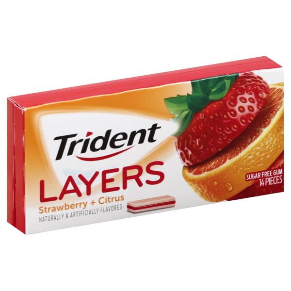 Trident Layers Wild Strawberry Tangy Citrus Sugar Free Gum, 14ct
