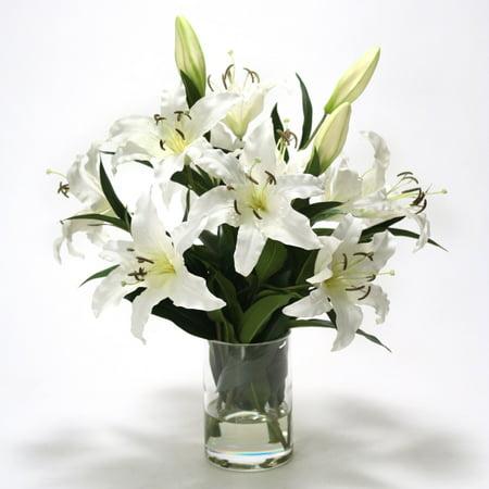 Distinctive Designs Waterlook Silk Casablanca Lilies in Cylindrical Vase