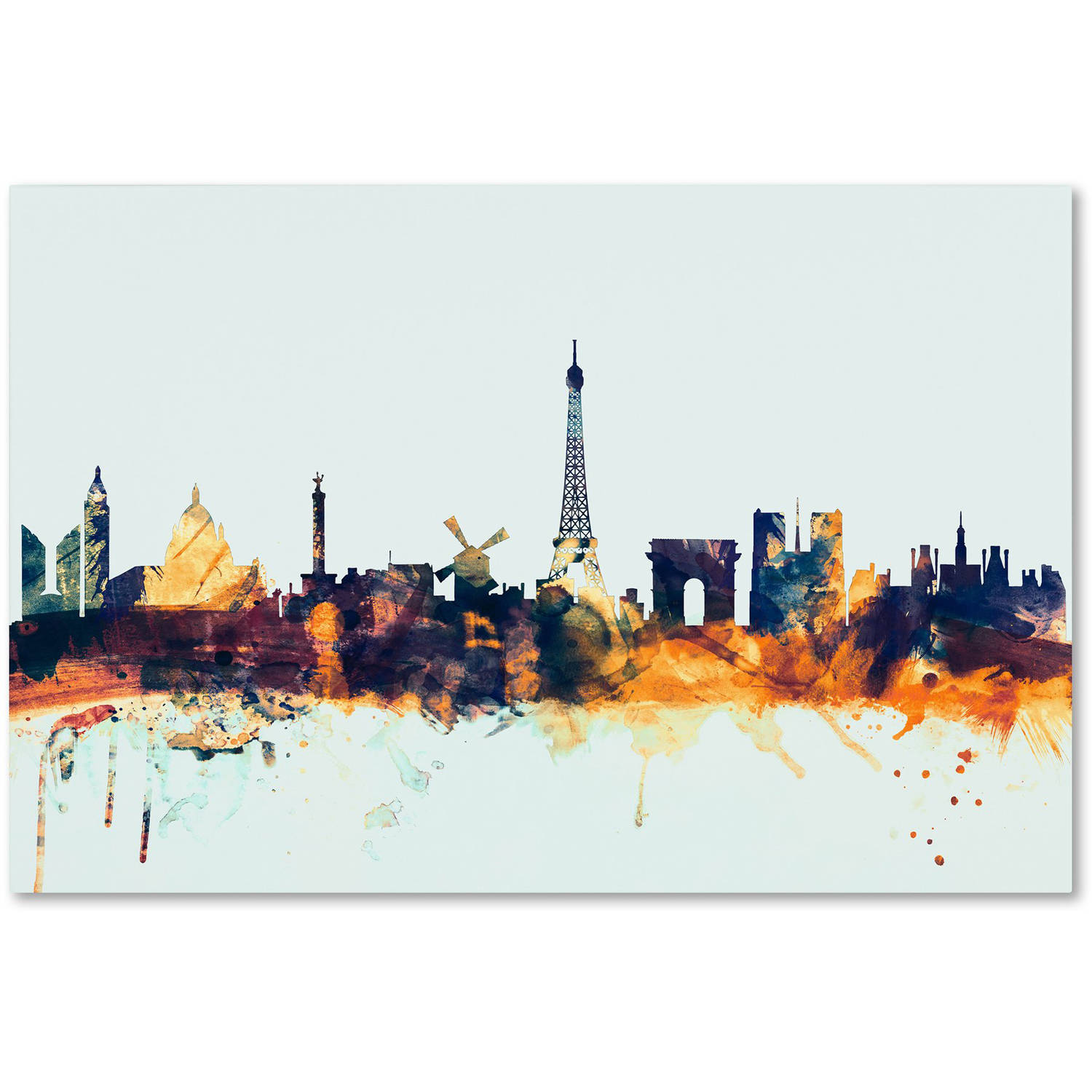 "Trademark Fine Art ""Paris France Skyline Blue"" Canvas Art by Michael Tompsett"
