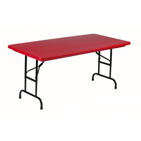 Correll RED Commercial Duty, Adjustable Height Plastic Top Folding Table. Height Adjusts from 22
