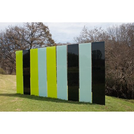 10' 22' Flat Panels - Canvas Print Cyan Wall Black Flat Sculpture Green Panels Stretched Canvas 10 x 14