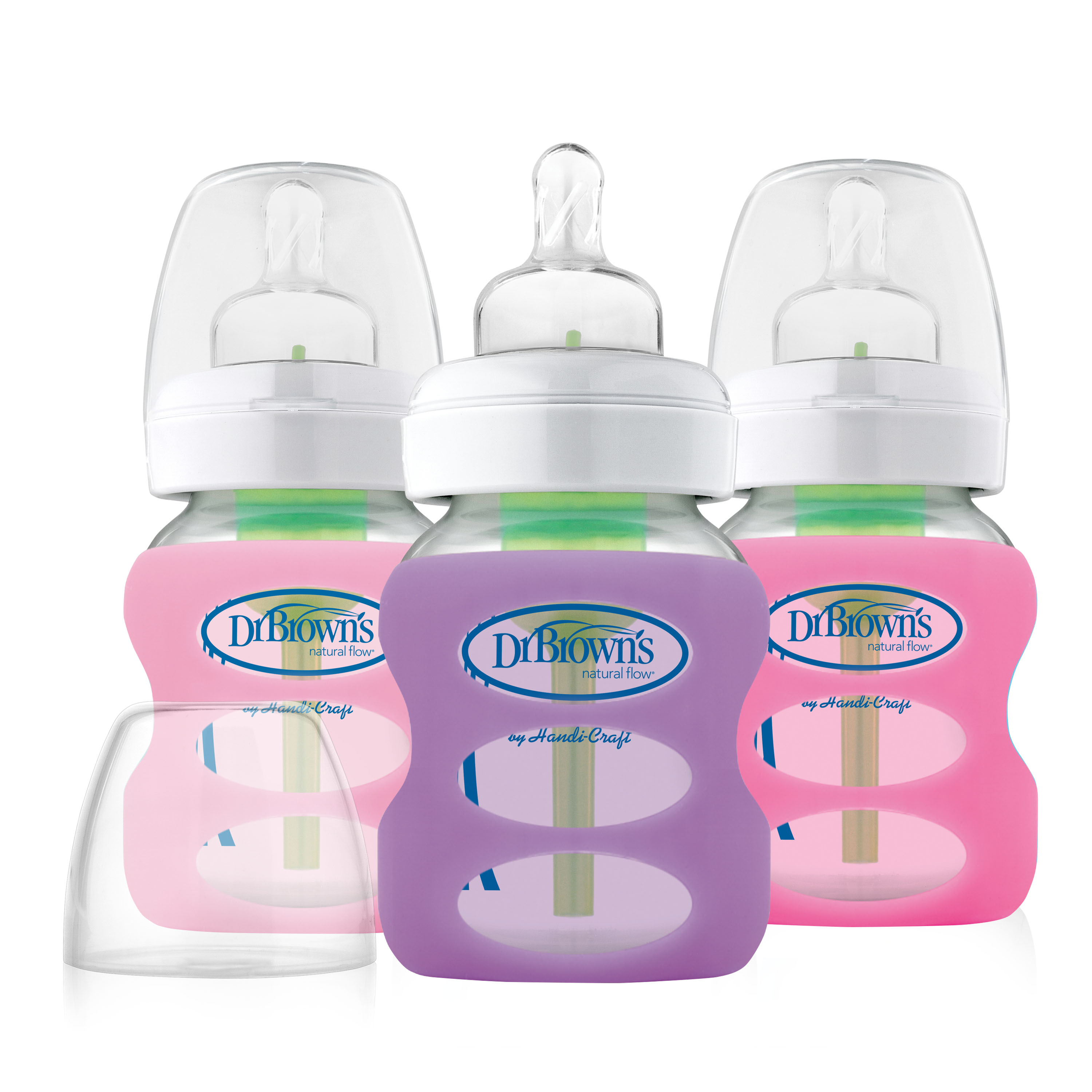 5oz Wide Neck Glass Bottles in Silicone Sleeve, 3pk, Boys
