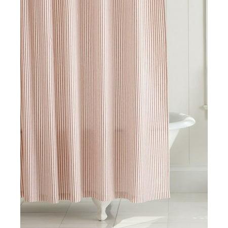 Home Classics Waffle Red Ticking Stripe Fabric Shower Curtain Bath ...