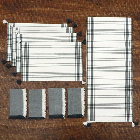 Homewear Ebden Stripe 9 Piece Kitchen Linen Set - Table Runner, 4 Placemats, 4 Napkins