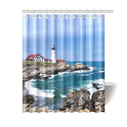 Bpbop Lighthouse Ocean Shower Curtain 60x72 Inches Polyester Fabric Bathroom Sets Home Decor Walmart Com Walmart Com