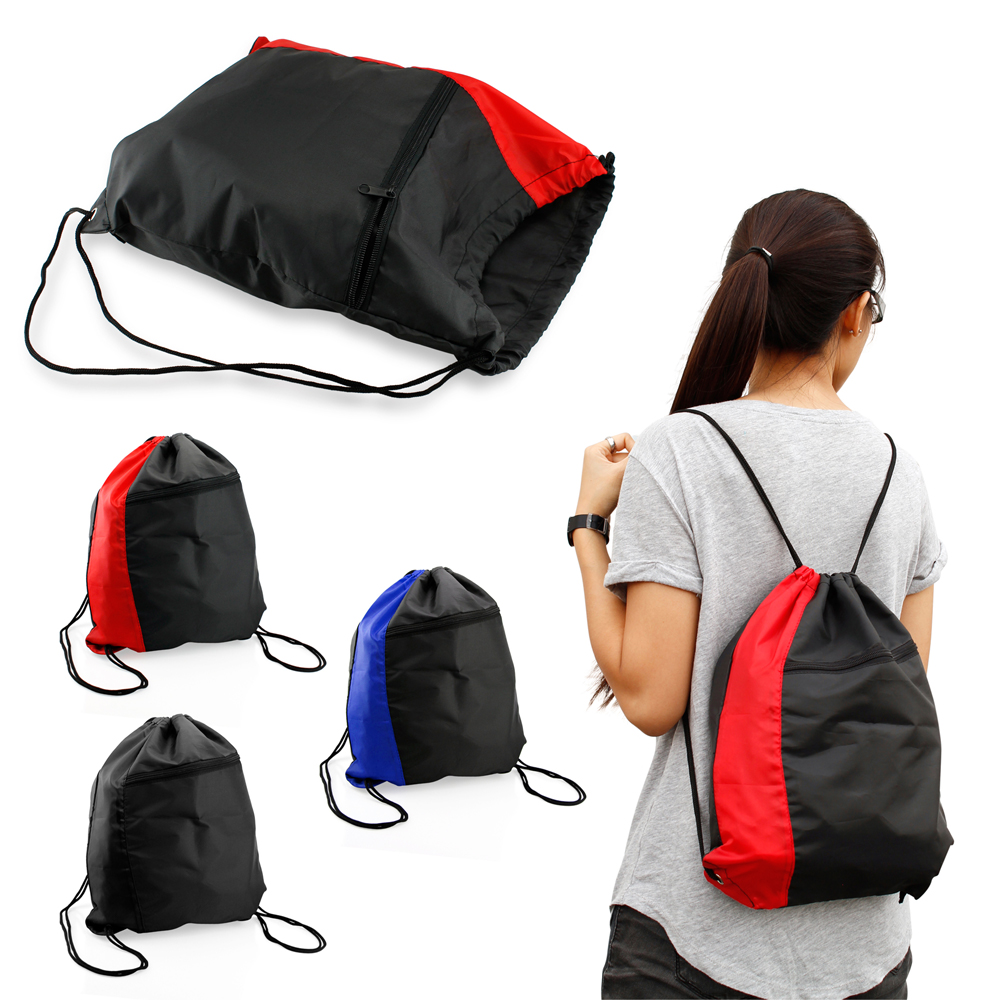 Colorblock Drawstring Backpack Cinch Sack School Tote Gym Bag Sport Pack