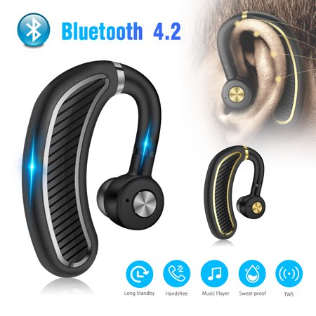 Wireless Bluetooth Headset, EEEKit Bluetooth V4.2 Earpiece Business Headphones Stereo Earphone with Noise Reduction Mic for Cell Phones, Laptops, iPad, iPod,