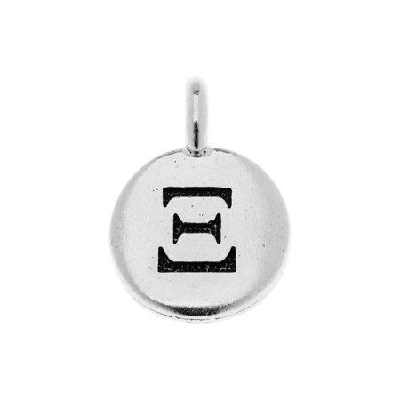 TierraCast Greek Alphabet Charm, Xi Symbol 16.75x11.75mm, 1 Piece, Antiqued Silver