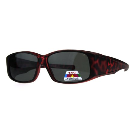 Womens Polarized Matte Tortoise 56mm Fit Over Rectangular Sunglasses Red