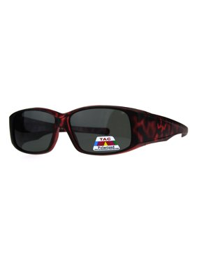 5becb1c08 Product Image Womens Polarized Matte Tortoise 56mm Fit Over Rectangular  Sunglasses Red