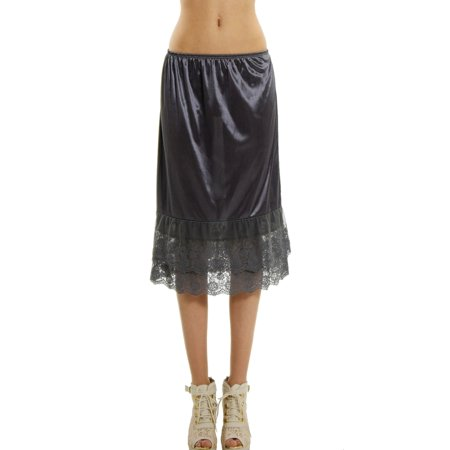 8b1b87118c15 Melody - Women's Long Double Layered Lace Satin Skirt Extender Underskirt  Half Slip - Walmart.com