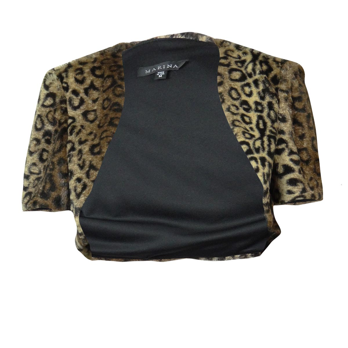 Marina Women's Cap Sleeve Animal Print Faux Fur Bolero Jacket