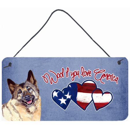 Woof if you love America Norwegian Elkhound Wall or Door Hanging Prints