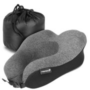 Fosmon Memory Foam Travel Pillow, U-Shaped Neck Pillow Washable 100% Cotton Cover for Car, Train, Office and Airplane