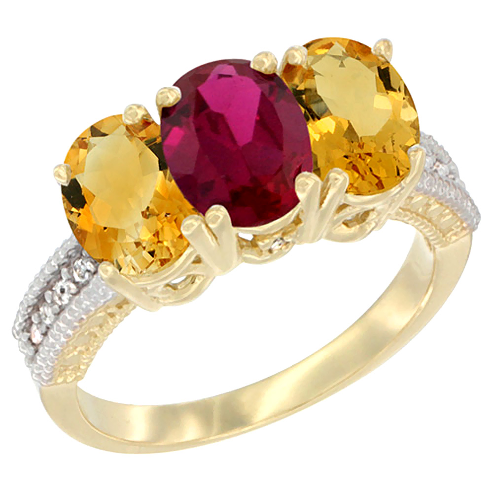 10K Yellow Gold Diamond Natural Enhanced Ruby & Citrine Ring 3-Stone 7x5 mm Oval, sizes 5 10 by WorldJewels