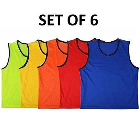 Soccer Scrimmage Vests - 6 Scrimmage Pinnies Vests Mesh Soccer Practice