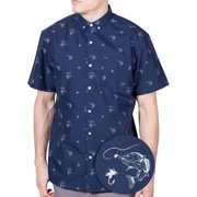 Visive Mens and Big Mens Fish And Sharks Printed Short Sleeve Casual Button Down Shirt, up to size 4XL