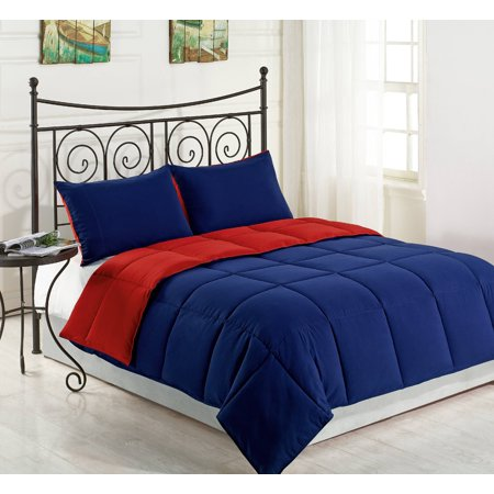 Reversible Collection 3pc KING Size Down Alternative Comforter set Red/Navy Blue Color - Halloween Comforter