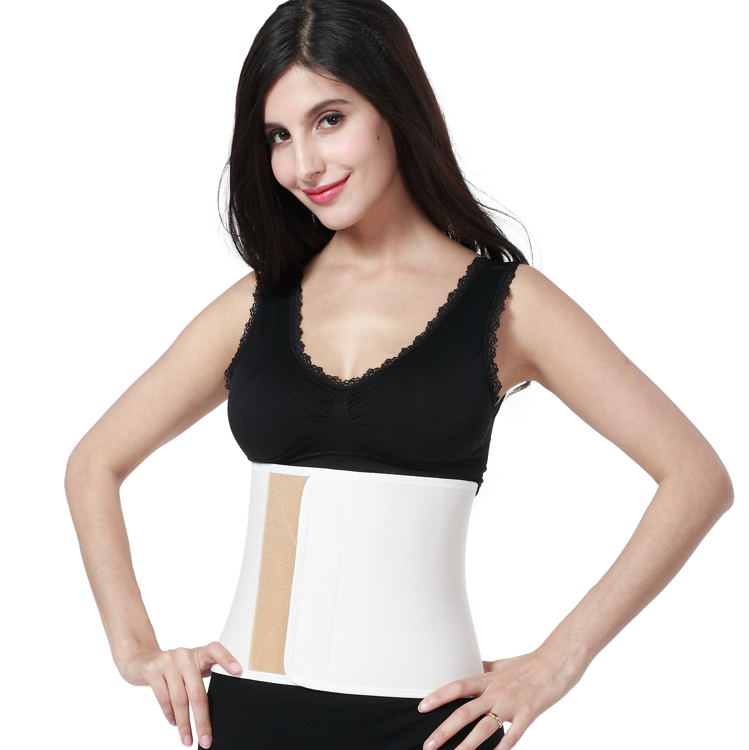 Post Partum Support / Pregnancy / Maternity Trimmer Belt / Corset - Waist / Tummy / Belly Band & Back Support, Elastic - NEOtech Care ( TM ) Brand - Cream Color - Size M