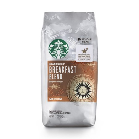 Starbucks Breakfast Blend Medium Roast Whole Bean Coffee, 12-Ounce Bag