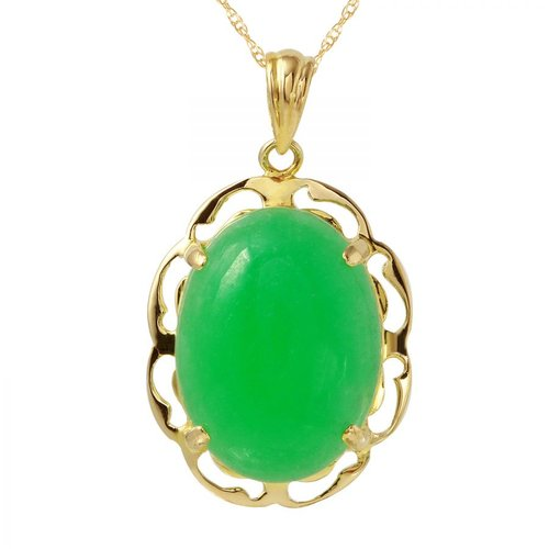 Foreli 10.3CTW Chrysoprase 14K Yellow Gold Necklace by Generic