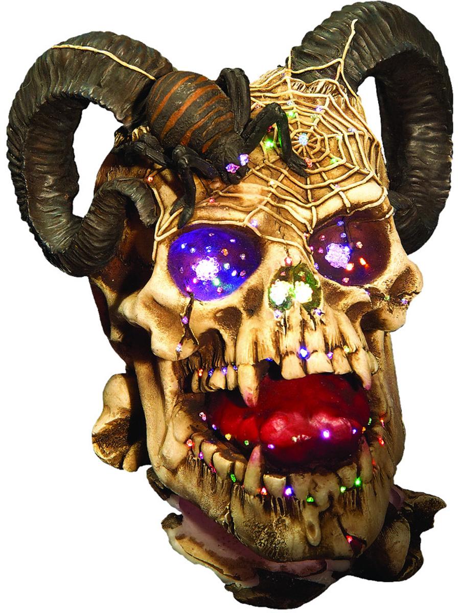 FiberOptic Lighted Halloween Decor Replica Decoration Ram Skull