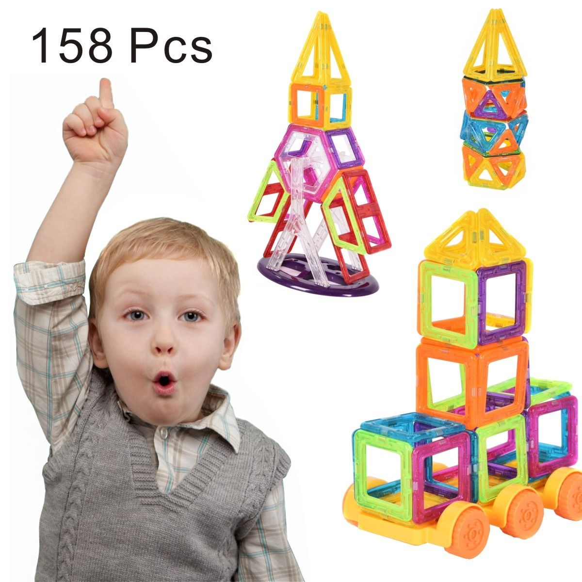 Costway 158 Pcs Magical Magnet Building Block Educational Toy For Kids Colorful Gift Set by Costway