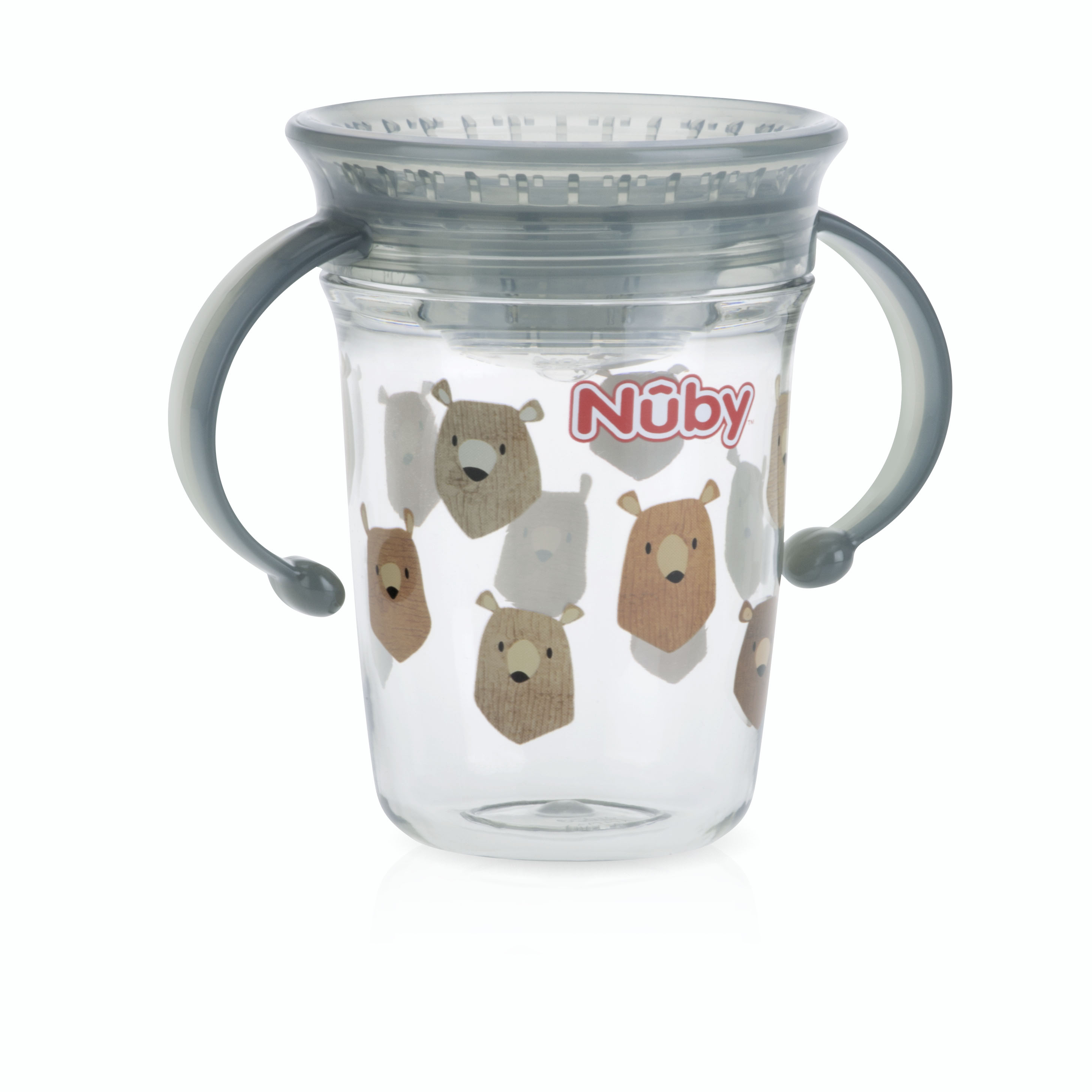 Nuby Tritan 8oz Two Handle Wonder Cup with Hygienic Cover, Bears