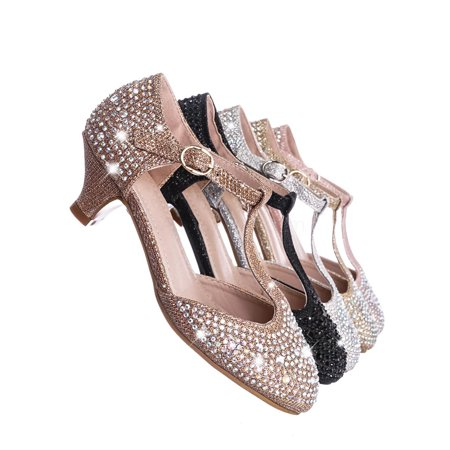 Jemma12K by Forever Link, Children Girls Glitter Rhinestone Pumps - Kids Party Sparkling Shoes - Party Shoes For Teenagers