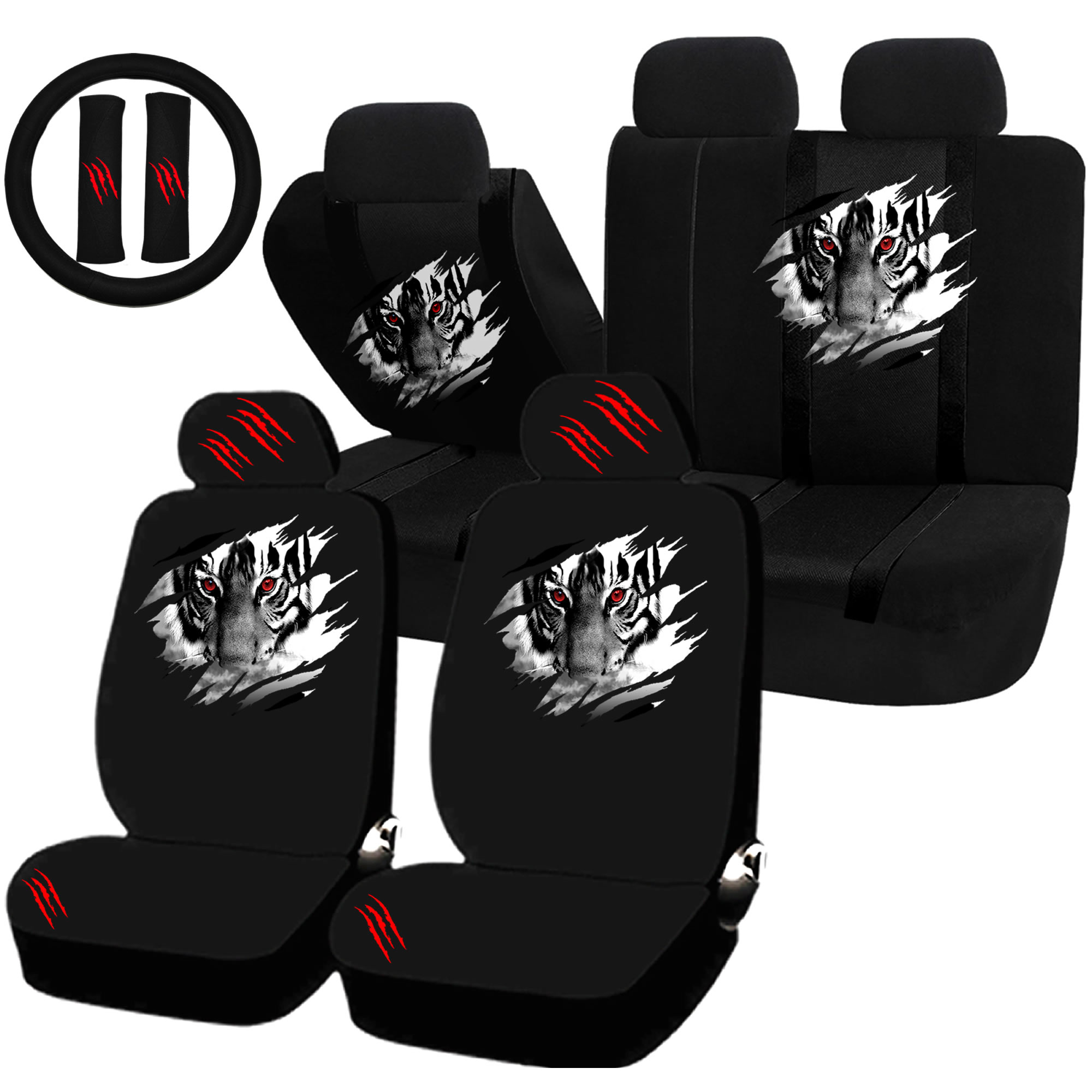 22PC Tiger Within Animal Inside Seat Covers & Steering Wheel Set Universal Car Truck SUV
