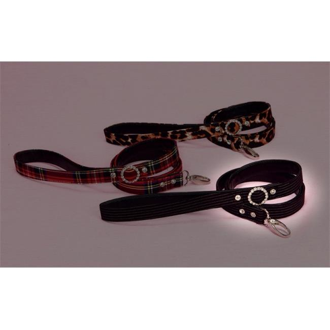 Hollywood Poochie HP302 Lace Overlay Satin Doggie Leash With Rhinestone Studs 4 ft., Long , Red & Black - One Size