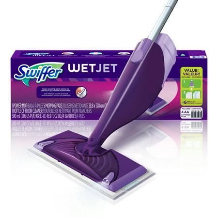 Swiffer WetJet Floor Mop Starter Kit (1 Power Mop, 5 Mopping Pads, 1 Floor Cleaner Liquid (Best Hardwood Floor Mop Reviews)