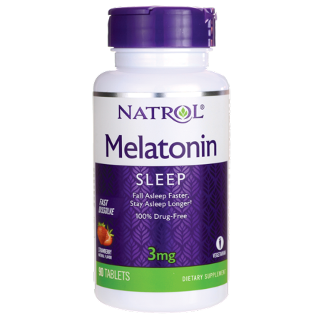 Natrol Melatonin Fast Dissolve - Strawberry 3 mg 90 Tabs (Equal Tabs)