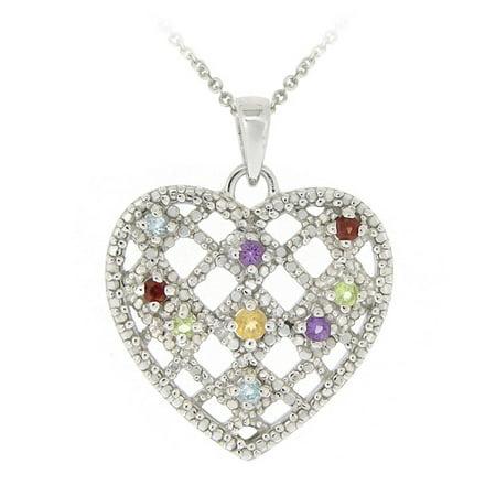 Silver Multi Gemstones & Diamond Accent Weave Pattern Heart Pendant