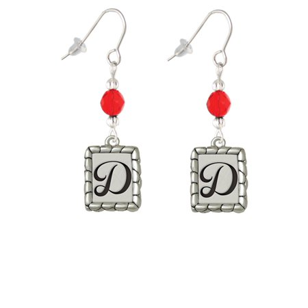 Pebble Border Initial - D Red Bead French Earrings ()