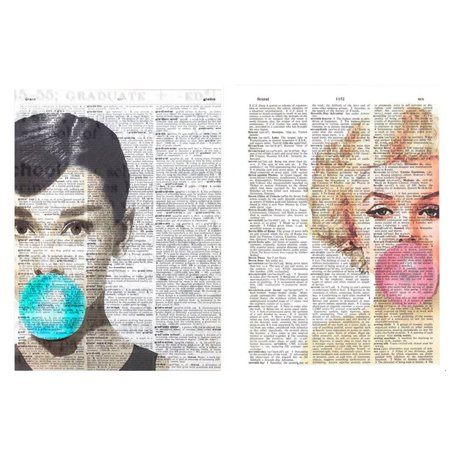 Art N Wordz Audrey Hepburn and Marilyn Monroe Bubble Girls Set of 2 Original Dictionary Pages Pop Art Wall or Desk Prints (Audrey Hepburn And Marilyn Monroe Halloween)