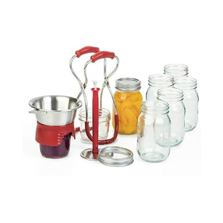 Magnetic Lifters - Progressive Stainless Steel Canning Kit with Red Accents, Includes a funnel, magnetic lid lifter wand, and jar lifting tongs By PL8