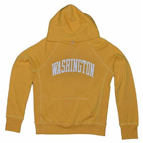 Washington Huskies Ladies Hooded Sweatshirt - Ladies Hoody By League - Athletic Yellow