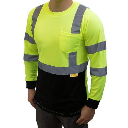 NY BFL High-Visibility Class 3 T Shirt with Moisture Wicking Mesh Birdseye, Black Bottom - Green / 4X ()
