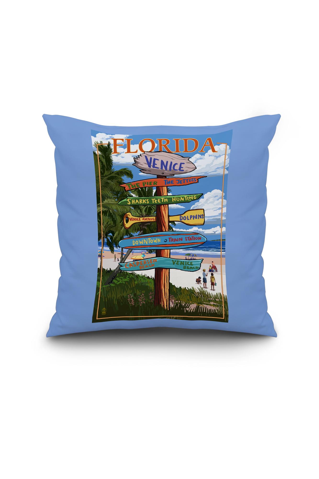 Venice, Florida Sign Post Lantern Press Artwork (16x16 Spun Polyester Pillow, Black Border) by Lantern Press