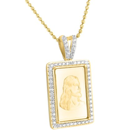 Jesus Face Pendant 14k Gold Finish Over Sterling Silver Lab Created Cubic Zirconias Moon Cut Chain Hip Hop