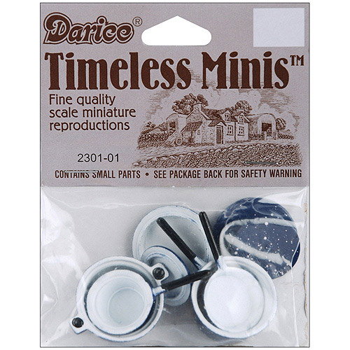 Timeless Miniatures Blue Pots and Lids, 4pk